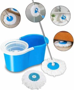 Ketsaal Spin Bucket Mop with 2 Refills- Super Absorbent Refills for All Type of Floors, 360 Degree Spin Bucket, 180 Degree Bendable Handle, for Perfect Cleaning