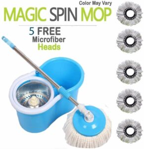 Shivonic® Magic Spin Mop with Steel Spinner and Bucket for Magic 360 Degree Cleaning