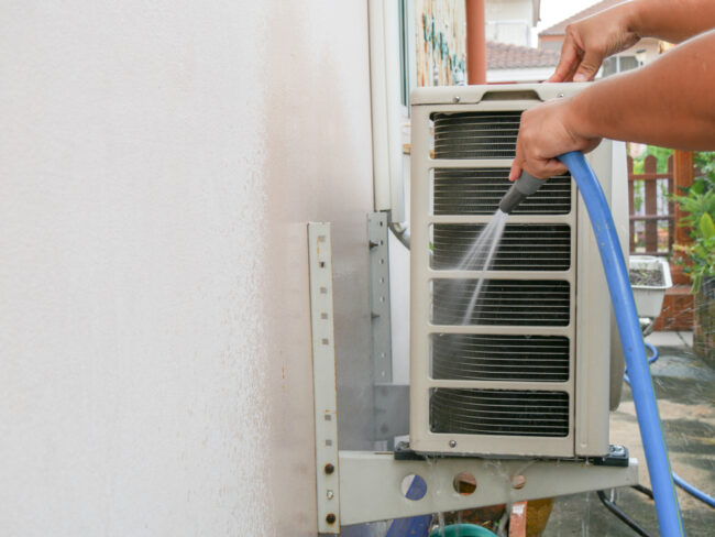 Ac outdoor unit cleaning process