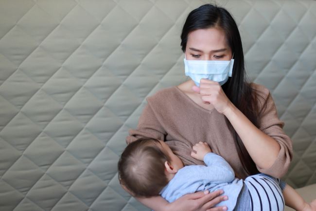 breastfeeding Mother with mask