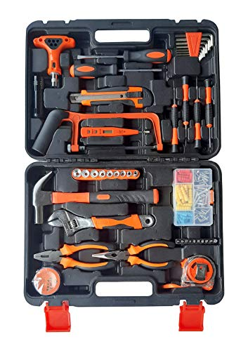 iBELLTB145-9, 145 Piece Socket Wrench Auto Repair Tool Combination Package Mixed Tool Set Hand Tool Kit with Plastic Toolbox Storage Case