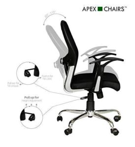 SAVYA HOME APEX Plastic Apollo Medium Chair (Black, Standard Size)