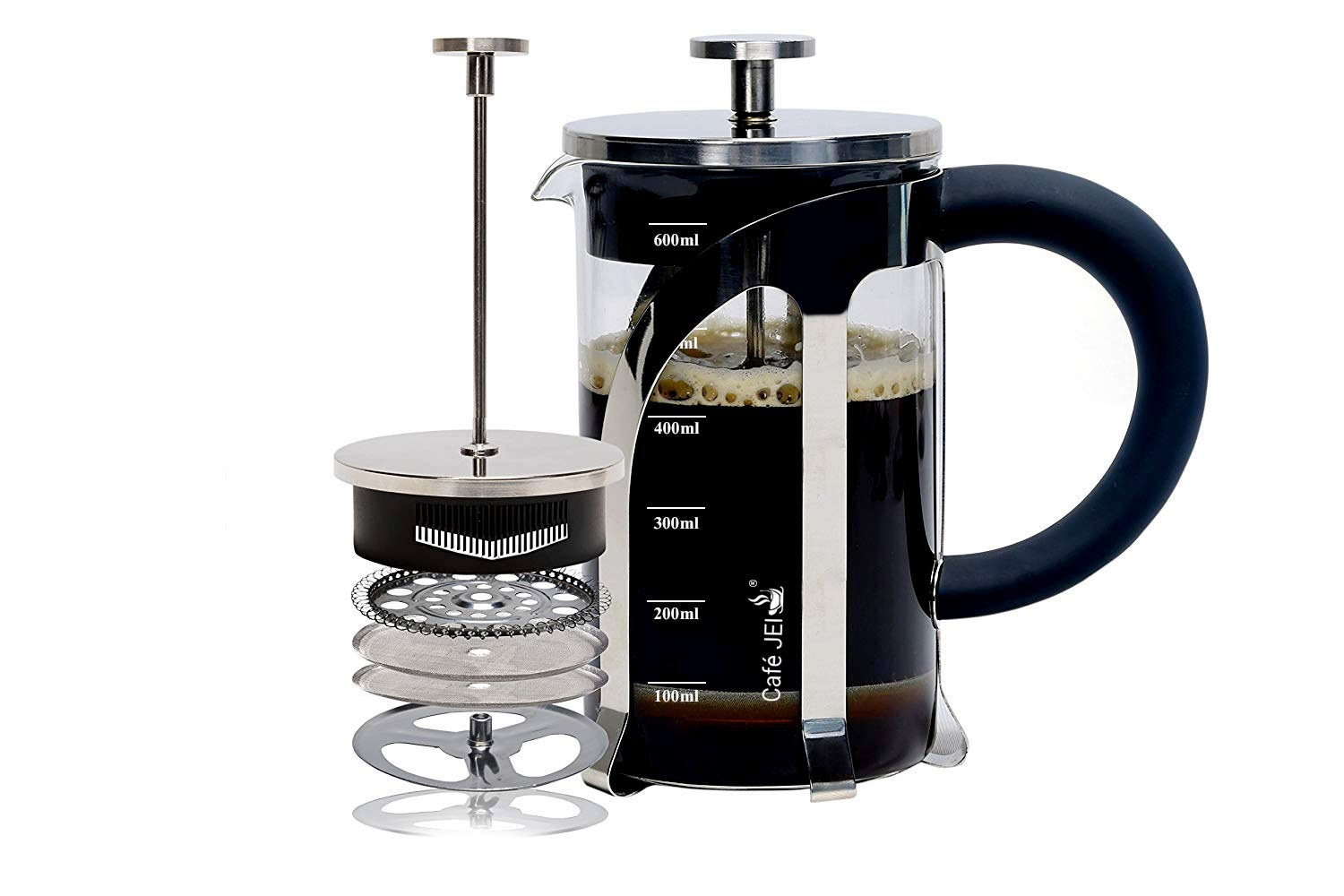 Cafe JEI French Press Coffee and Tea Maker 600ml with 4 Level Filtration System, Heat Resistant Borosilicate Glass, Included Coasters Set of 4 (Silver, 600ml)
