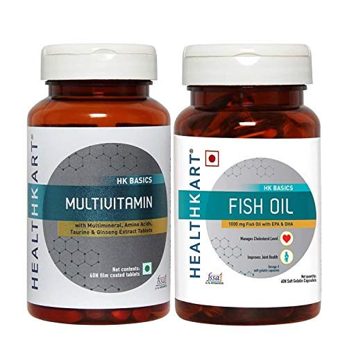 HealthKart Omega (Fish Oil + Multivitamin, 60 capsules each)
