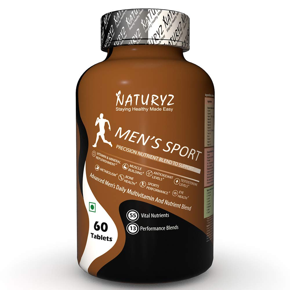 NATURYZ Men's Sport Advanced Daily Multivitamin Supplement for Men with 55 Vital Nutrients & 13 Performance Blends Consisting (Vitamins, Minerals, Amino acids, Testosterone Boosters, Antioxidants, Phytonutrients, Digestive Enzymes, Joint care Blends)- 60 Tablets