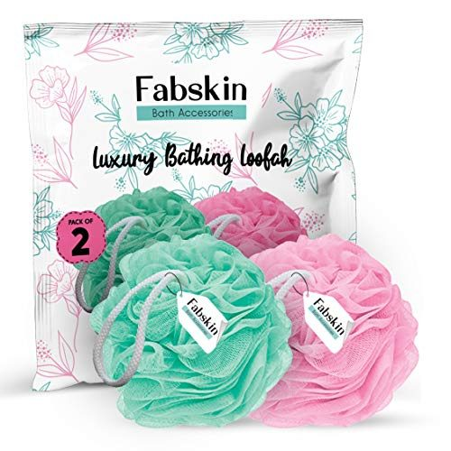 FABSKIN Luxury Bathing Round Loofah for Men and Women (Couples Pack of 2) (Aqua and Pink)