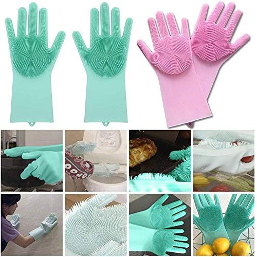 IVAAN Eco Silicone Latex-Free Cleaning Gloves with Scrubber