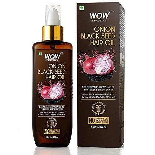 WOW Skin Science Onion Hair Oil With Black Seed Oil Extracts - Controls Hair Fall - No Mineral Oil, Silicones & Synthetic Fragrance - 200 ml